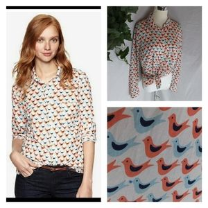 Gap fitted boyfriend button bird shirt top cotton